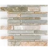Mosaikfliese Quarzit Beige-Bunt -  30,5 cm x 30,5 cm