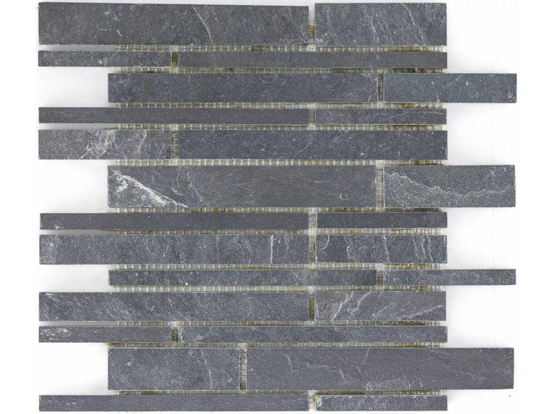 Mosaikfliese Schiefer Schwarz -  30,5 cm x 30,5 cm