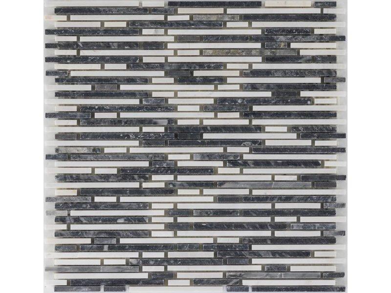 Mosaikfliese Marmor Negro Carrara - 30,5 cm x 30,5 cm
