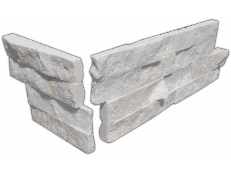 Wandverblender Ecke Quarzit weiß mix - 20/40x15 cm