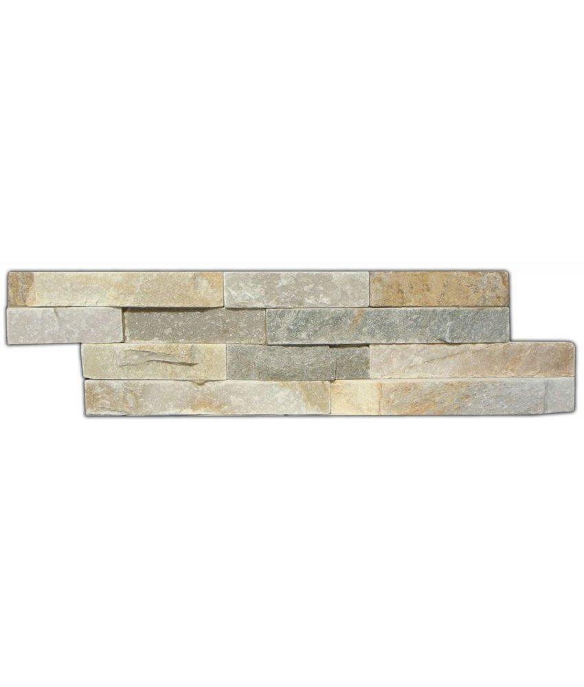Wandverblender Naturstein Quarzit Beige Bunt - 10 cm x 40 cm