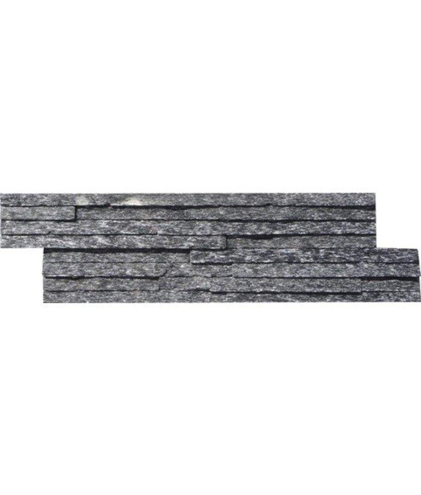Wandverblender Naturstein Quarzit Schwarz Slimline - 10 cm x 40 cm