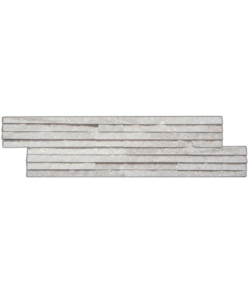 Wandverblender Naturstein Quarzit Weiß Slimline - 10 cm x 40 cm