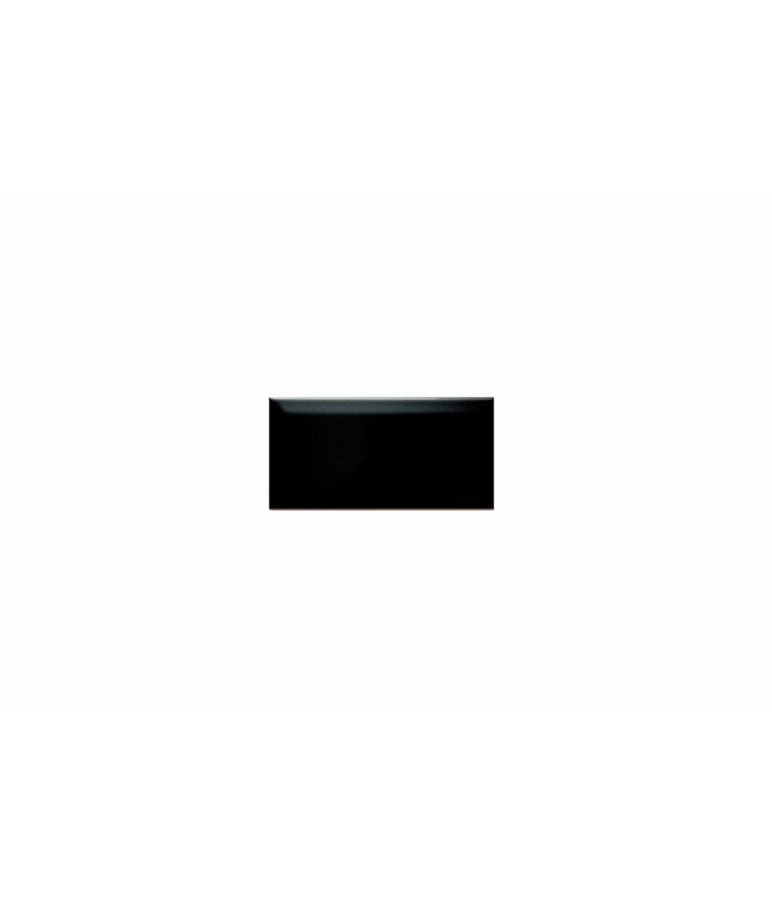 Metro Fliesen mit Facette - schwarz glänzend - 7,5x15 cm