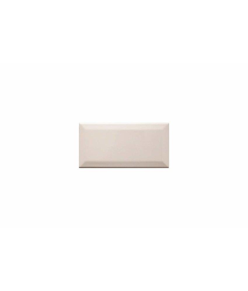Metro Fliesen mit Facette - creme glänzend - 10x20 cm