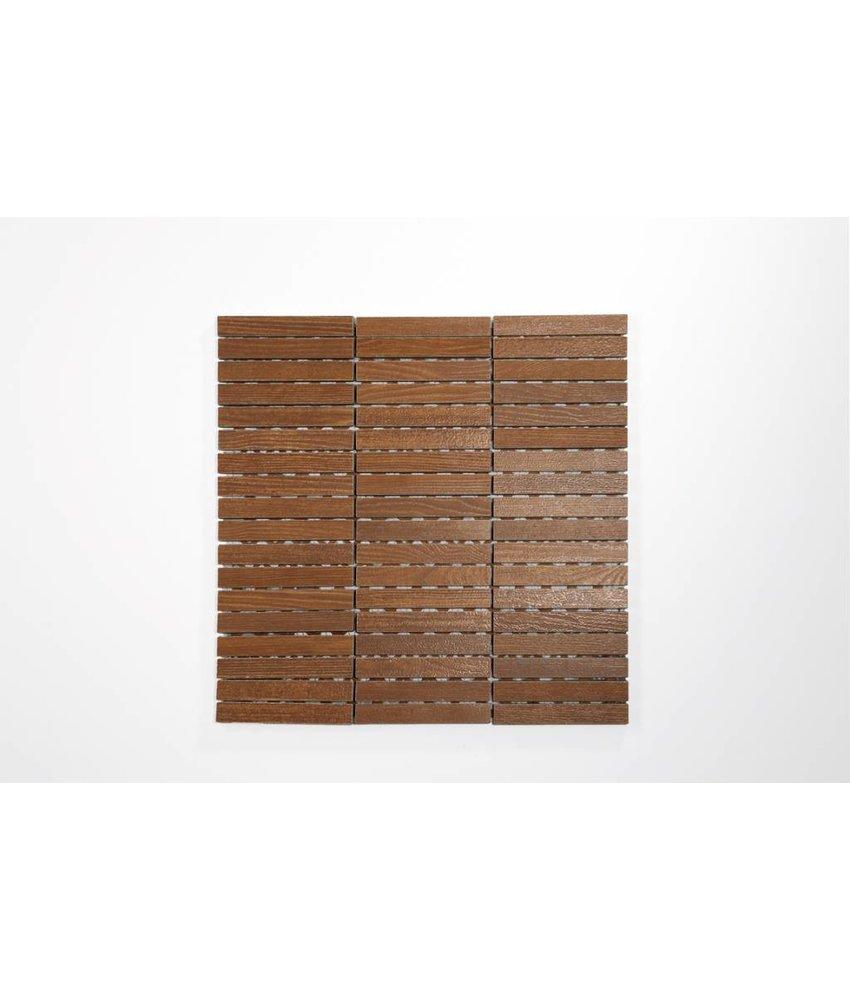 Feinsteinzeug Mosaik - WOOD Holzoptik braun 1,5x10 - 30x30 cm