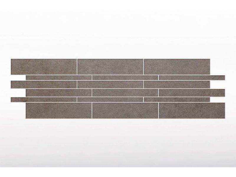 Feinsteinzeug glasiert und eingefärbt Format Mix - BROOKLYN Zementoptik dark grey - 4,8+9,8+14,8x60 cm