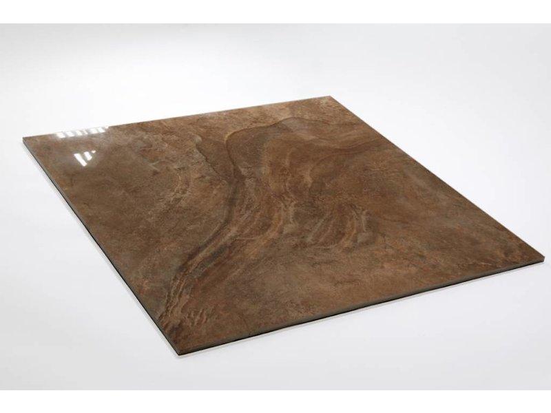 Feinsteinzeug glasiert und poliert - LEA Marone - 60x60 cm