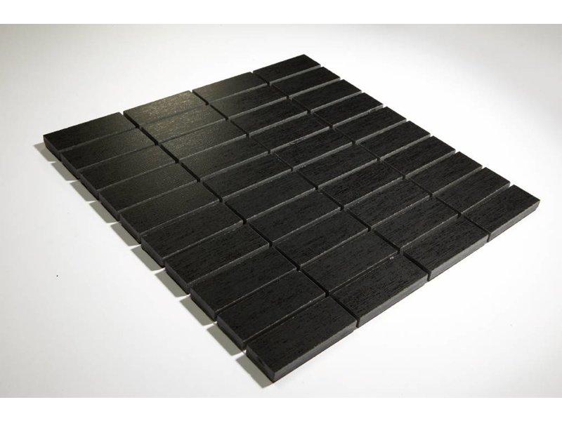 Feinsteinzeug Mosaik - TEX-TILE schwarz 3x7,5 - 30x30 cm