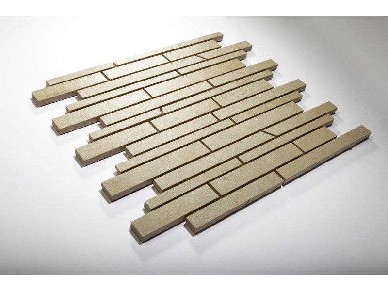 Feinsteinzeug Mosaik - QUARZIT hellgrau schräg geschn. - 30x30 cm
