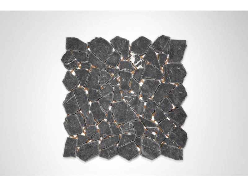 Naturstein-Bruchmosaik - Nero Marquina - 30,5x30,5 cm