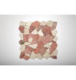 Naturstein-Bruchmosaik - Rosso /Cream Mix - 30,5x30,5 cm