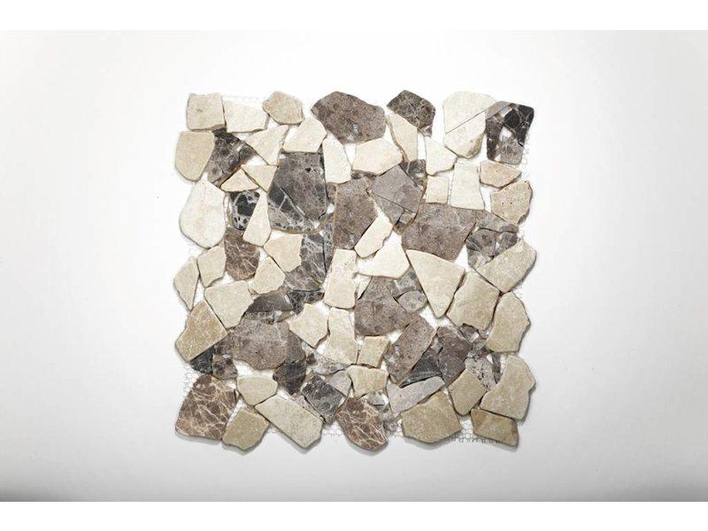 Naturstein-Bruchmosaik - Castanao /Cream Mix - 30,5x30,5 cm