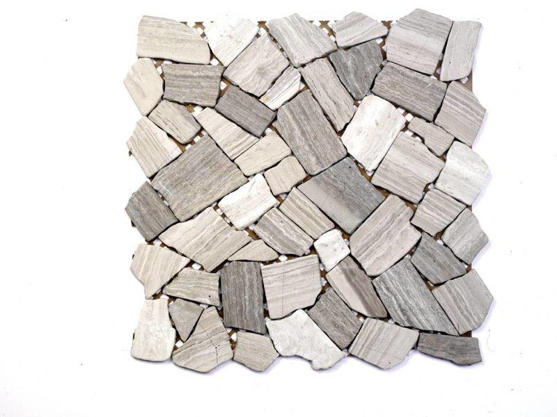 Naturstein-Bruchmosaik - STONE hellgrau Mix - 30,5x30,5 cm