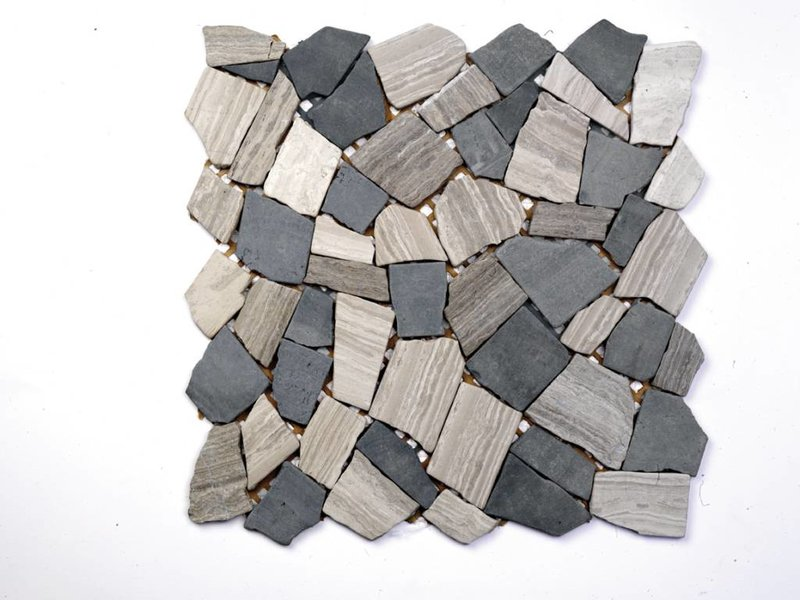 Naturstein-Bruchmosaik - STONE schwarz/ hellgrau Mix - 30,5x30,5 cm