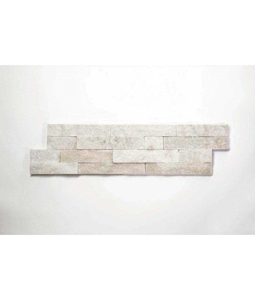 Brickstones - Quarzit weiß (1-2 cm) - 15x60 cm