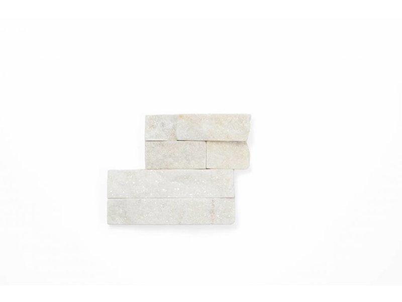 Brickstones Ecken - Quarzit weiß (2-3 cm) - 15x40+15x15 cm