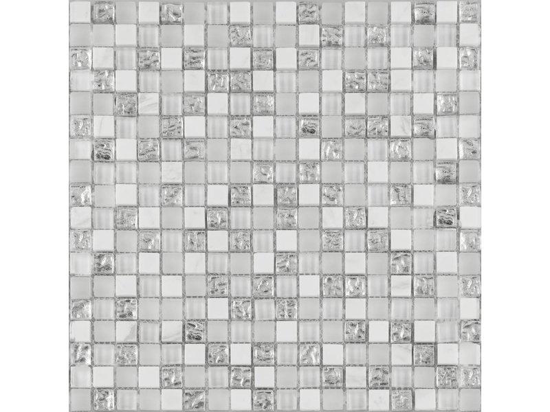 BÄRWOLF BÄRWOLF Kombimosaik Tuscany Brilliant White GL-17006 - 29,8 cm x 29,8 cm