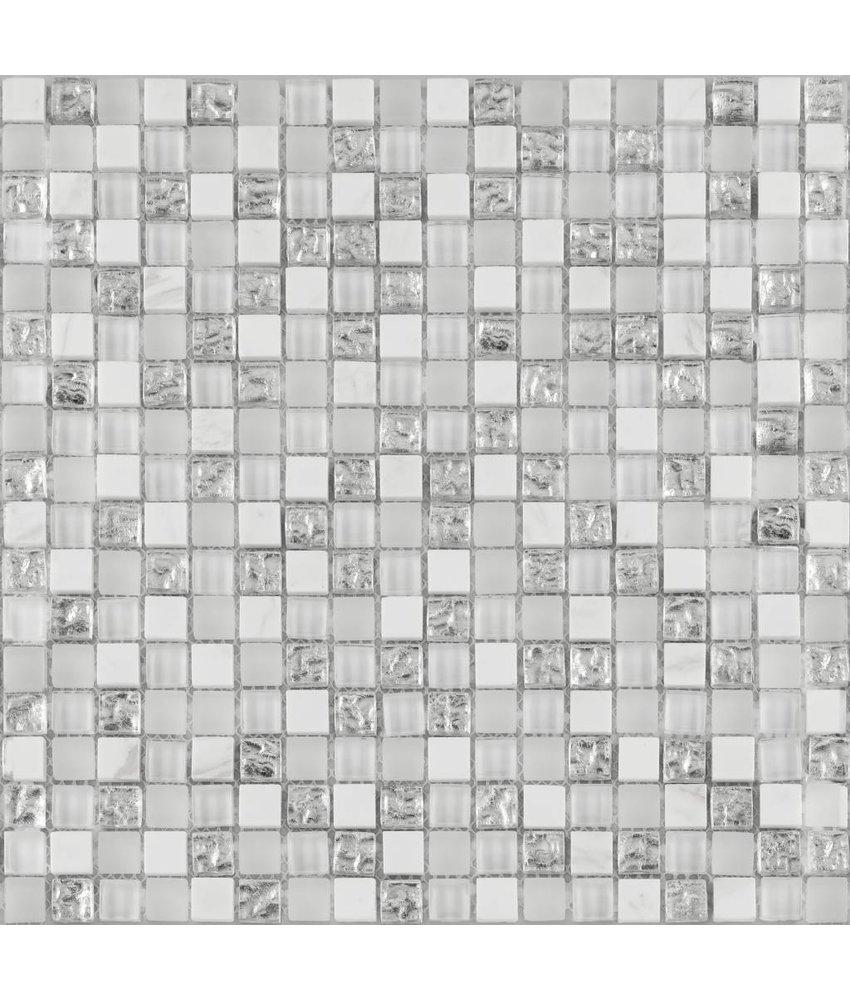 BÄRWOLF Kombimosaik Tuscany Brilliant White GL-16008 - 29,8 cm x 29,8 cm