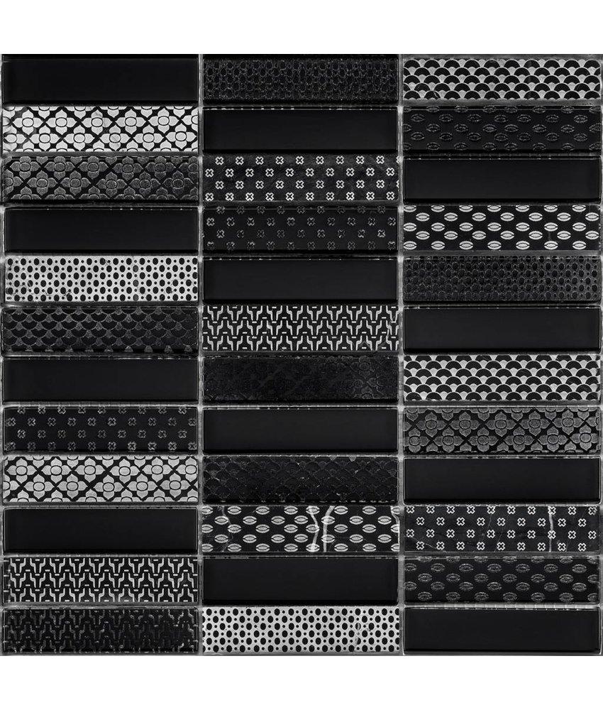 BÄRWOLF Kombimosaik Laura Black GL-17001 - 29,8 cm x 29,8 cm