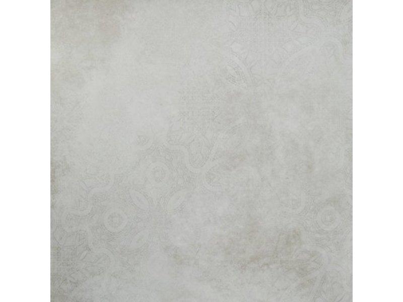 Bodenfliese Dolmen Weiß Dekor 4 Motive matt - 80 cm x 80 cm x 1 cm
