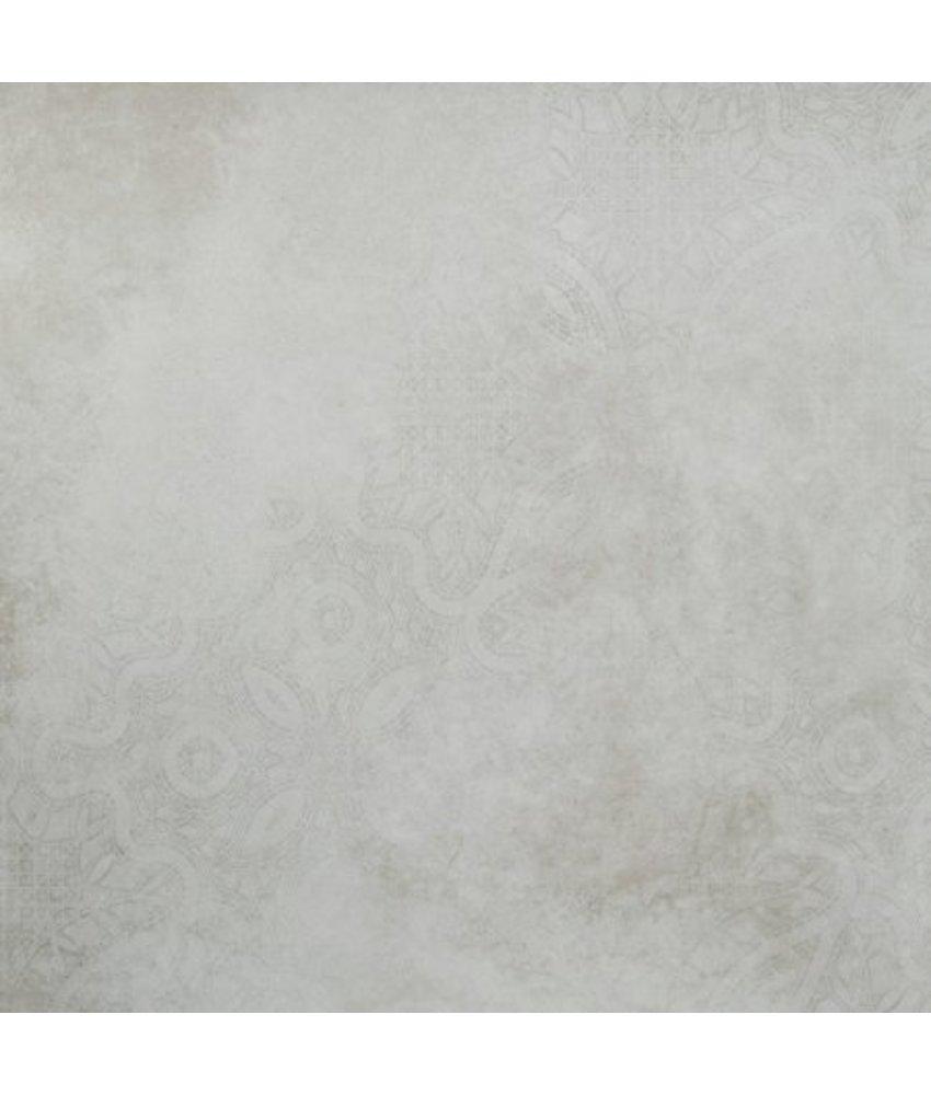 Bodenfliese Mondel Weiß Dekor 4 Motive matt - 80 cm x 80 cm x 1 cm