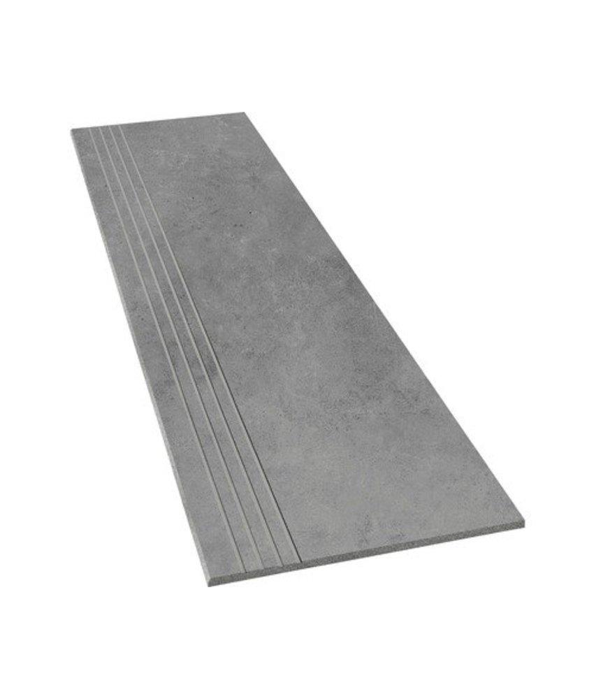 Arctec Graphit Trittstufe Feinsteinzeug glasiert matt  - 30 cm x 120 cm x 0,95 cm