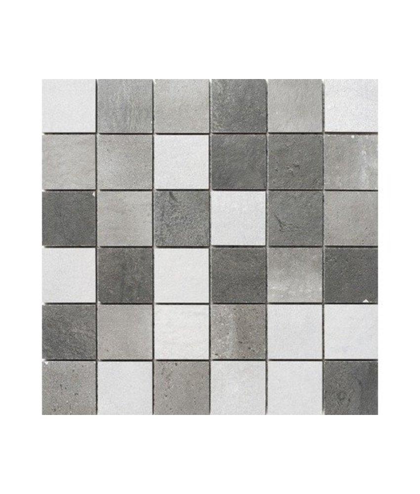 Industrial Mix Mosaik Feinsteinzeug glasiert matt - 30 cm x 30 cm x 1 cm