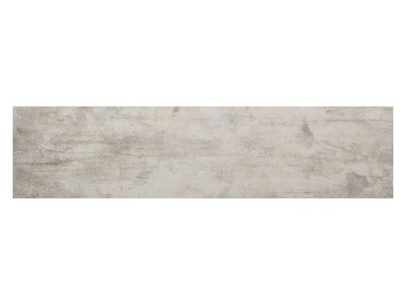 Bodenfliese Legno Denver White Grey Dekor Feinsteinzeug glasiert poliert - 16 cm x 65 cm x 0,9 cm