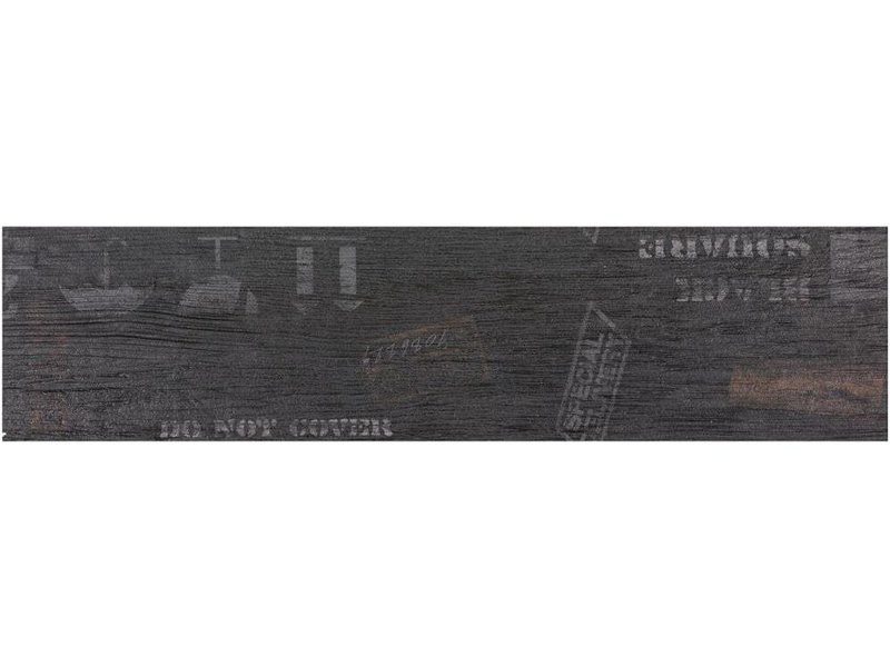 Bodenfliese Oregon Black Dekor Feinsteinzeug matt - 15 cm x 60 cm x 0,9 cm