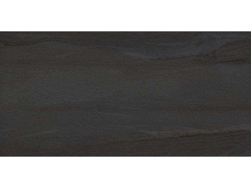 Bodenfliese Sahara Schwarz Feinsteinzeug glasiert - 45 cm x 90 cm x 1 cm