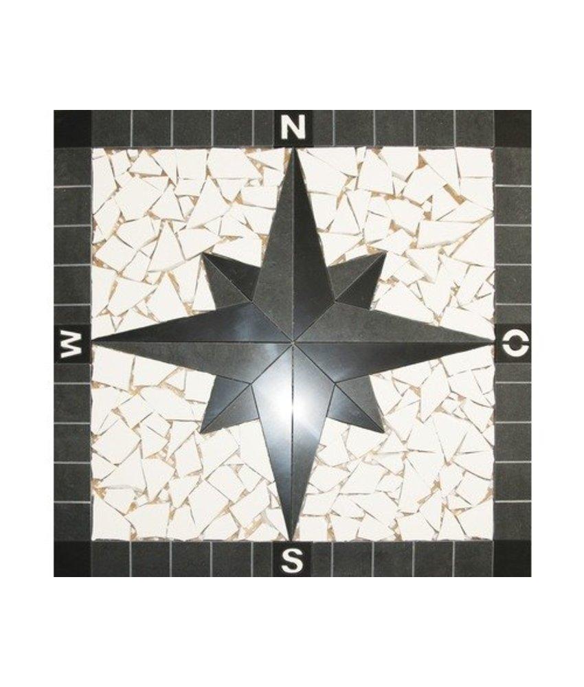 Mosaikfliese Einleger Kompass Feinsteinzeug poliert - 60 cm x 60 cm x 1 cm