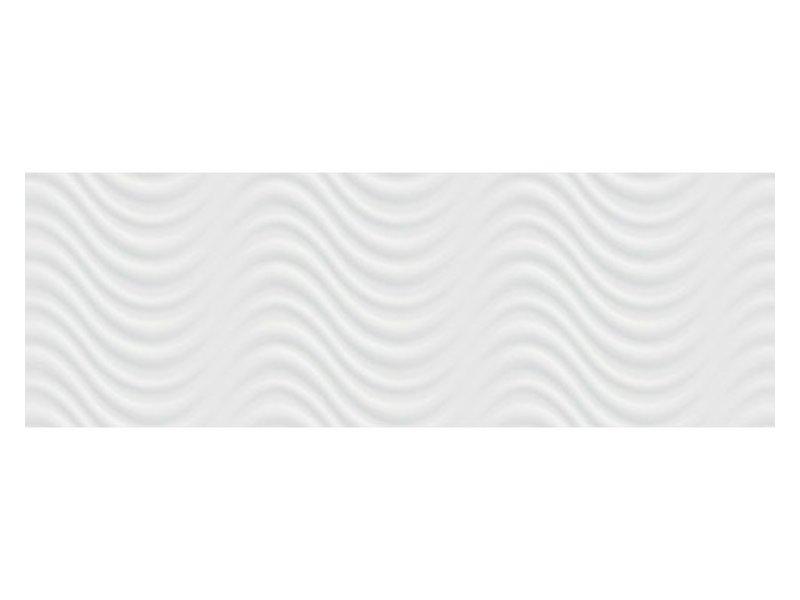 Wandfliese Duna Weiß 3D glänzend - 30 cm x 90 cm x 1 cm