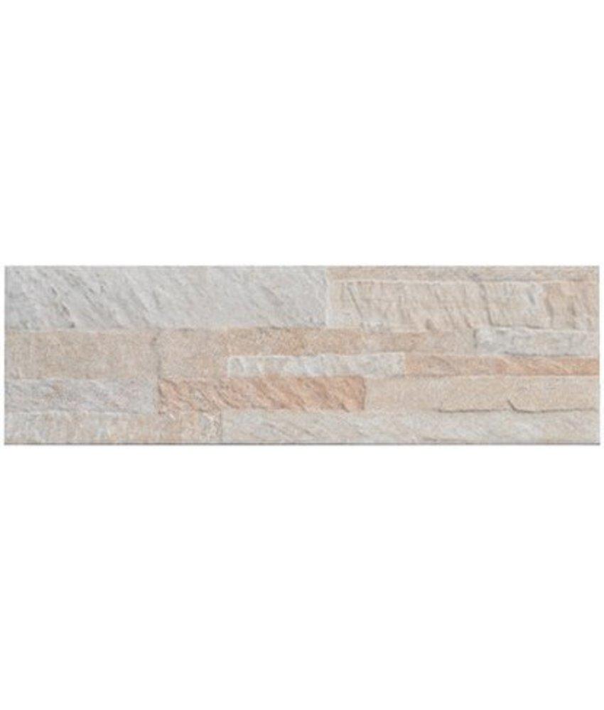 Wandverblender Quarzito Weiß Steinzeug glasiert matt - 15 cm x 49,5 cm x 0,7 cm
