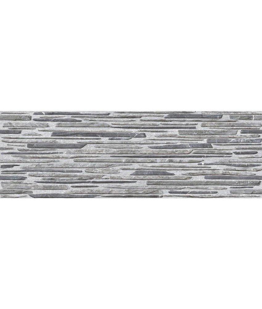 Wandverblender Linea Grau Steinzeug glsiert matt - 19 cm x 57 cm x 0,7 cm