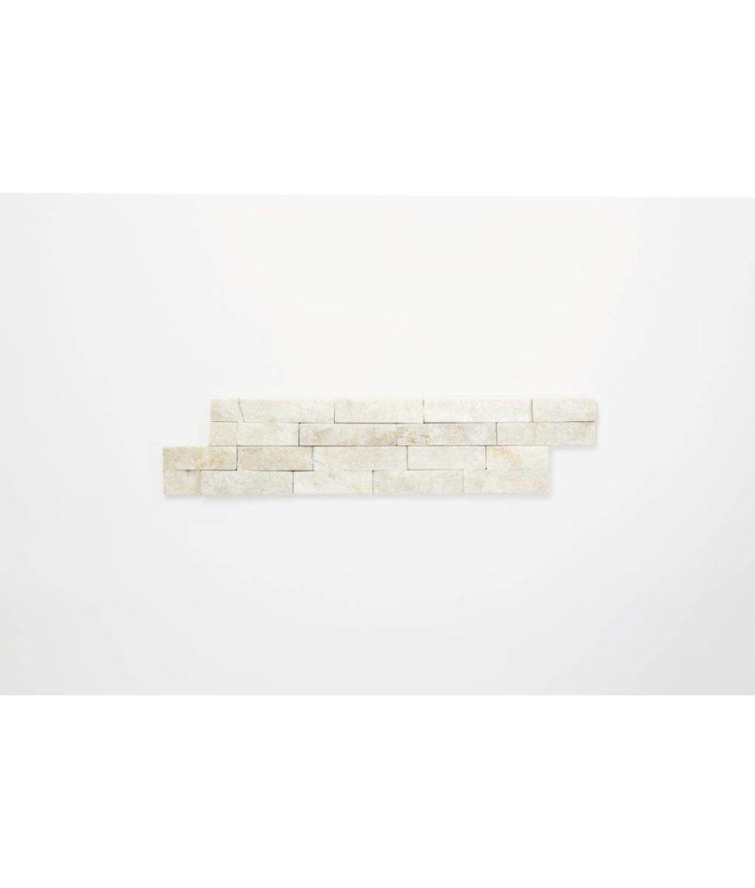 Brickstones - Quarzit weiß (1-1,5 cm) - 10x40 cm