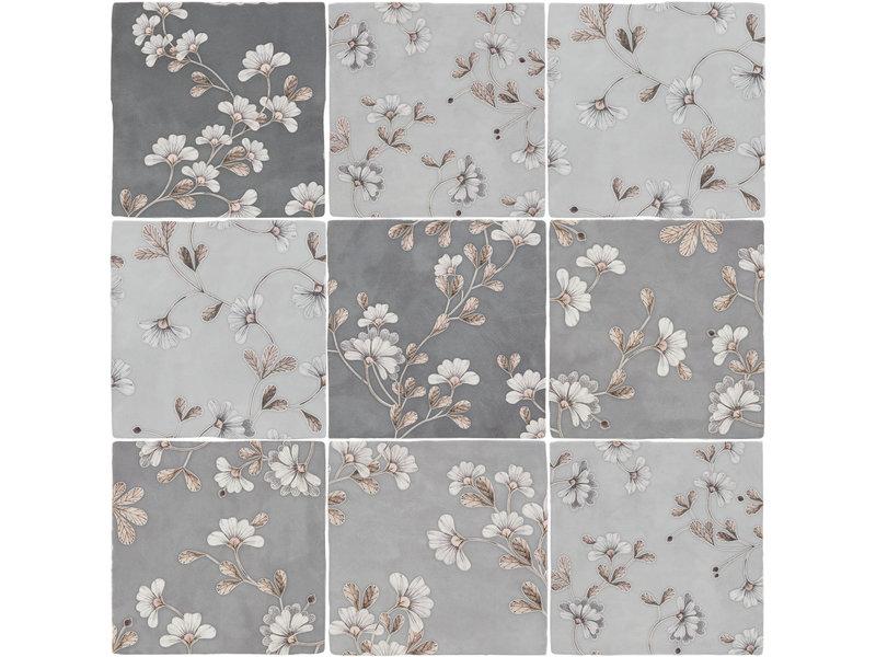 BÄRWOLF BÄRWOLF Ambience Spatolato Blossom Grey Random Mix - 13 cm x 13 cm