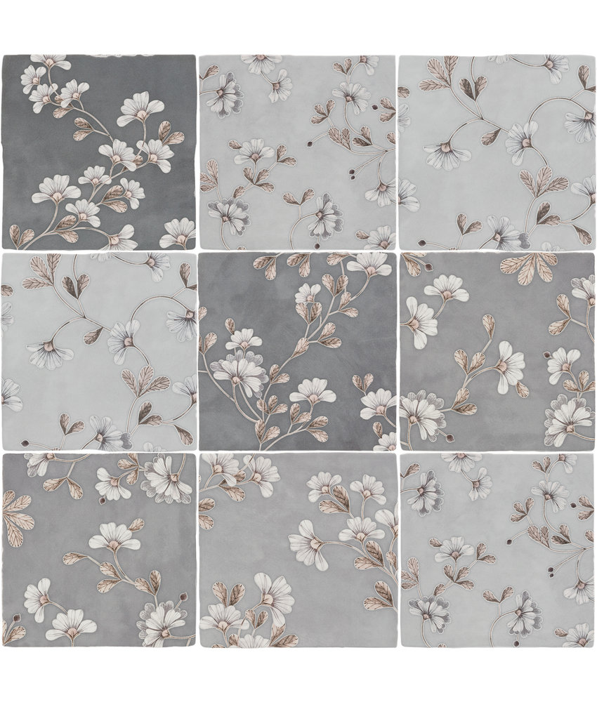 BÄRWOLF Ambience Spatolato Blossom Grey Random Mix - 13 cm x 13 cm