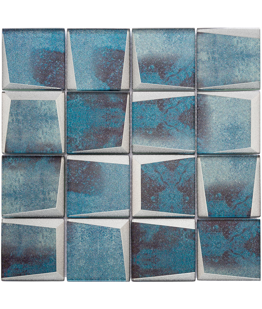 BÄRWOLF Mosaic Retro Oxid Blue - 29.8 cm x 29.8 cm x 0,8