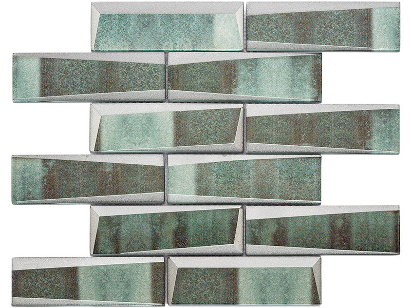 BÄRWOLF BÄRWOLF Mosaic Retro Copper Green Long - 29.8 cm x 29.8 cm x 0,8