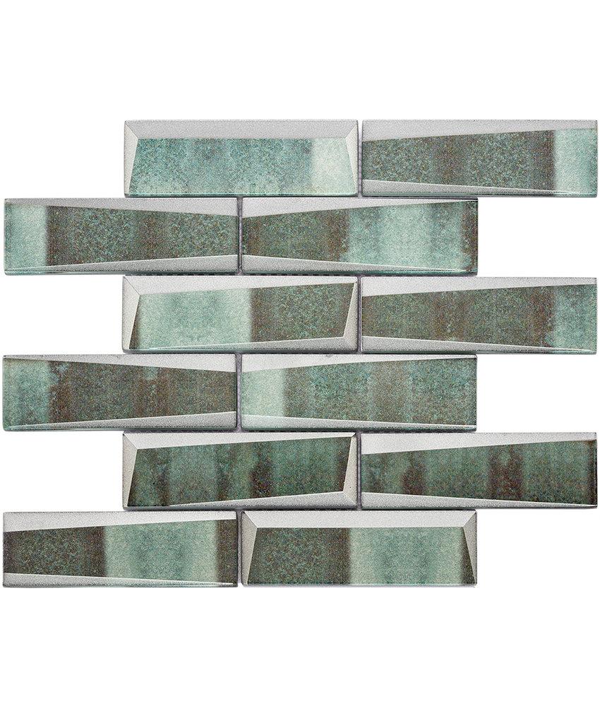 BÄRWOLF Mosaic Retro Copper Green Long - 29.8 cm x 29.8 cm x 0,8