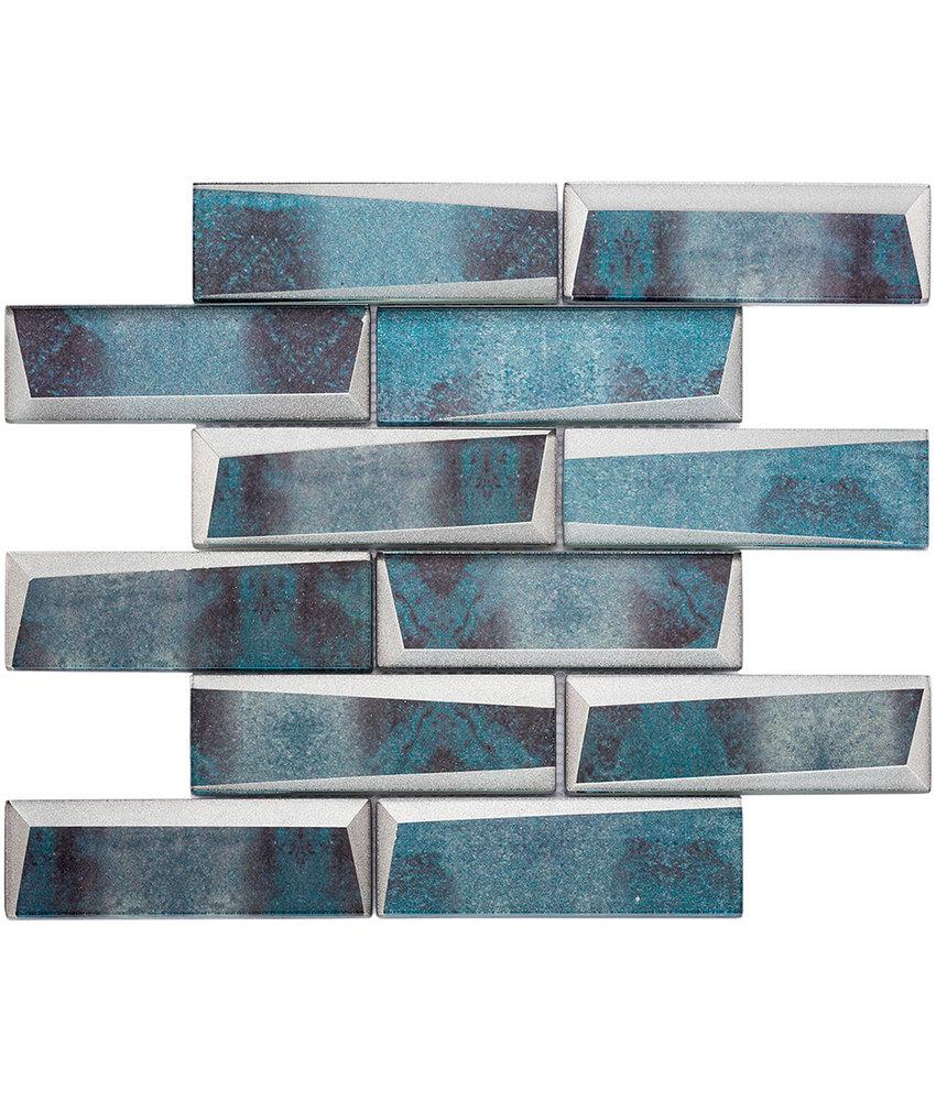 BÄRWOLF Mosaic Retro Oxid Blue Long - 29.8 cm x 29.8 cm x 0,8