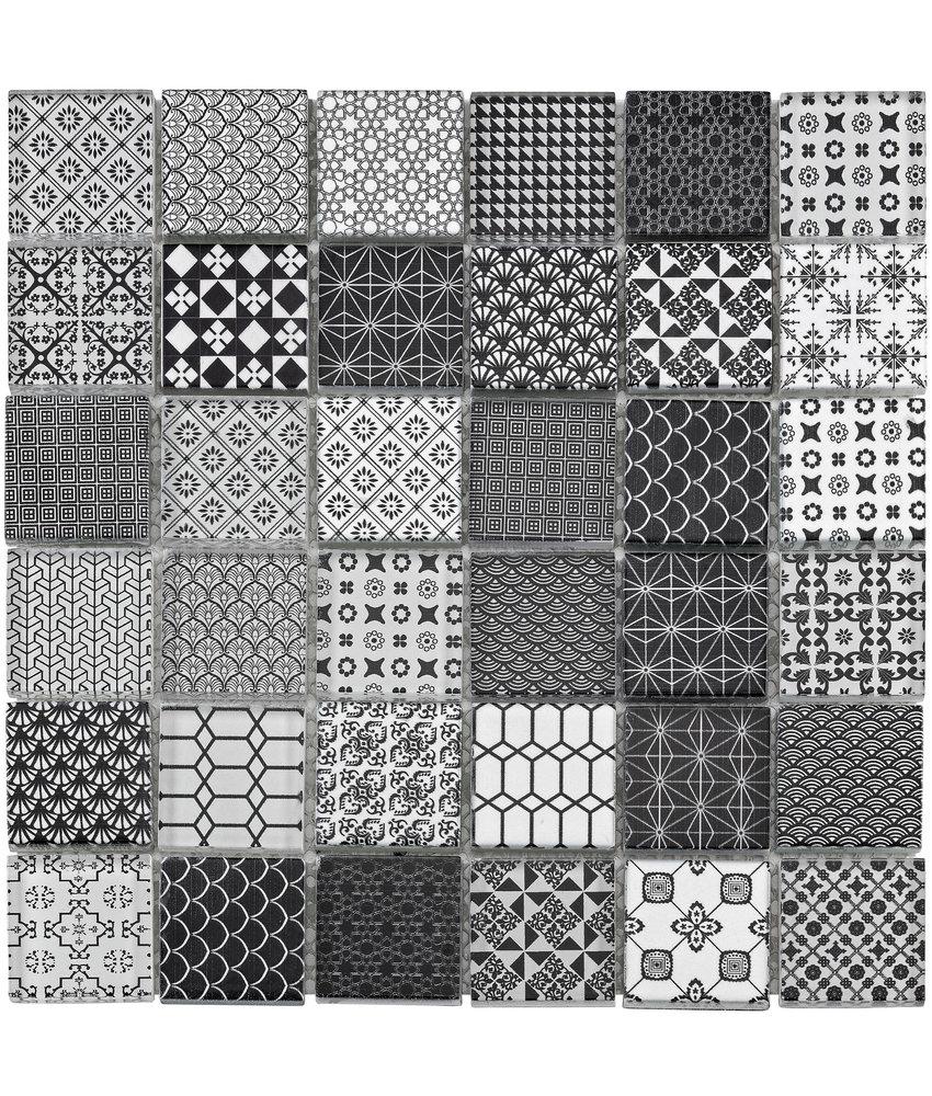 BÄRWOLF Mosaic Grafico Black White- 29.8 cm x 29.8 cm x 0,8