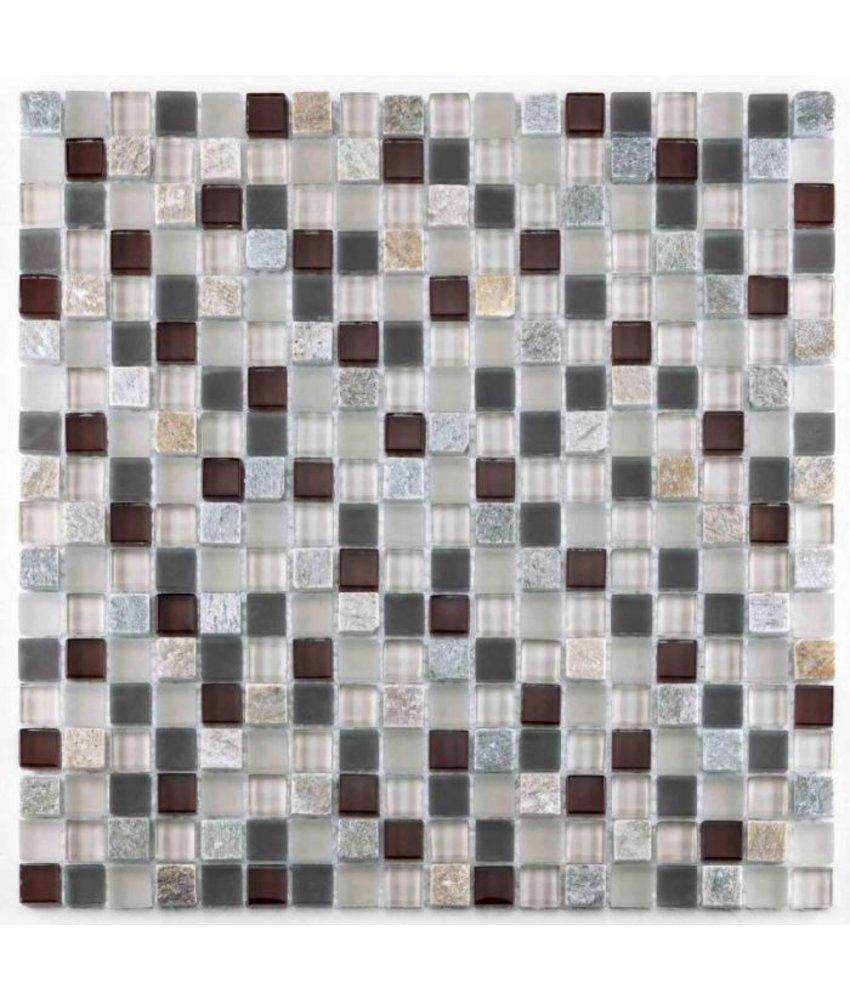 BÄRWOLF Mosaic San Remo Brown-Red-Lightrustic - 29.8 cm x 29.8 cm x 0,8