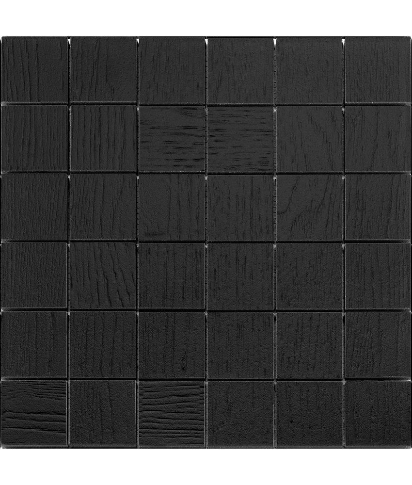 BÄRWOLF Mosaic Wood Coal Black - 29.5 cm x 29,5 cm x 1