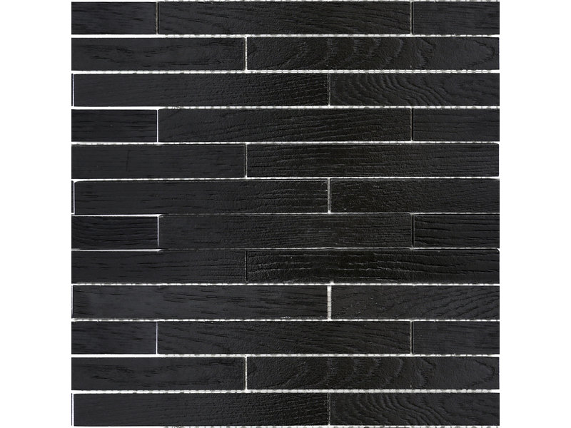BÄRWOLF BÄRWOLF Mosaic Wood Mauerverband Coal Black - 25,4 cm x 42,6 cm x 1