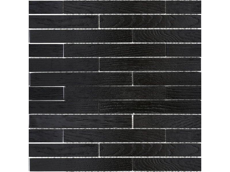 BÄRWOLF BÄRWOLF Mosaic Wood Mauerverband Coal Black - 25,4 cm x 42,6 cm x 1