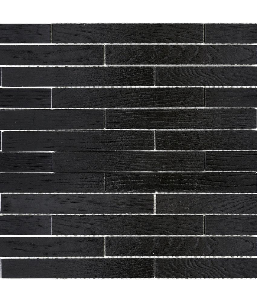 BÄRWOLF Mosaic Wood Mauerverband Coal Black - 25,4 cm x 42,6 cm x 1