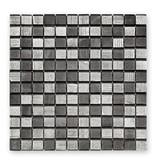 BÄRWOLF Glasmosaik-Fliesen GL-10004 Fineline silver black mix