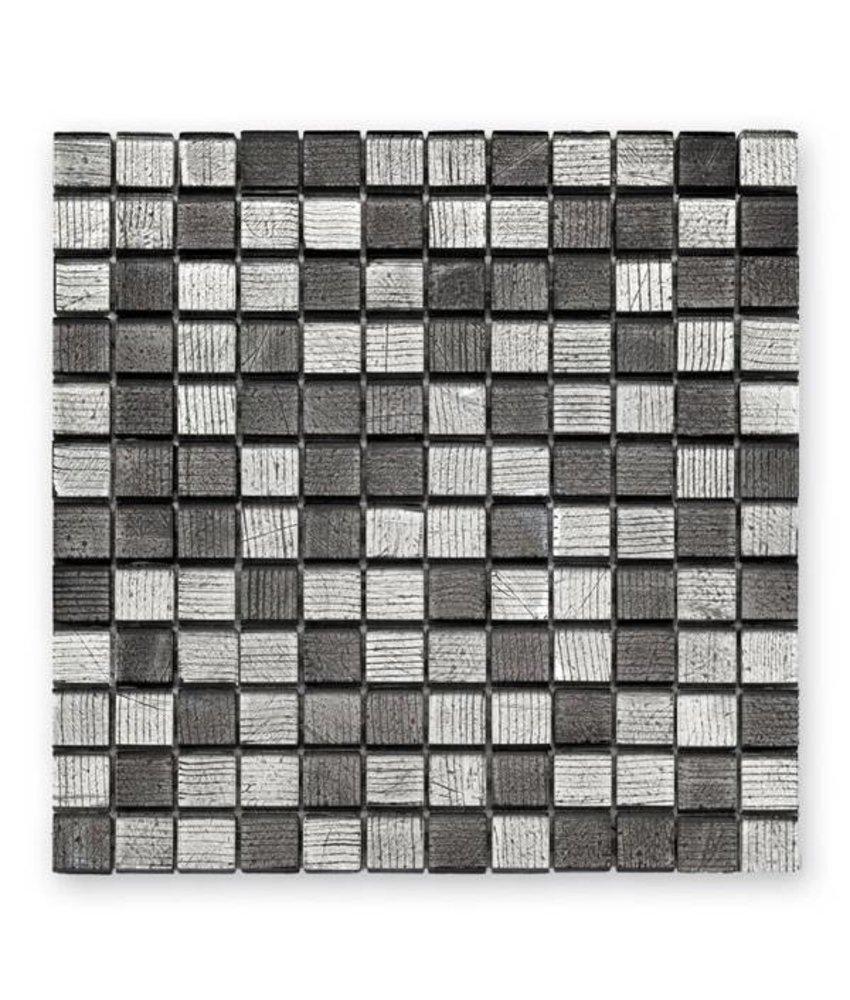 Glasmosaik-Fliesen GL-10004 Fineline silver black mix